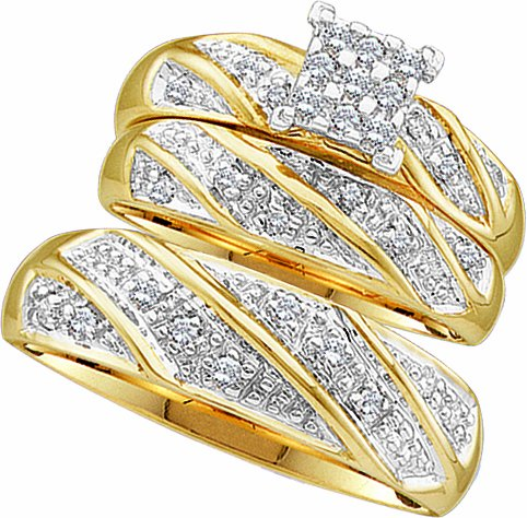 Men's Ladies 10k Yellow and White Gold .3 Ct Round Cut Diamond His Her Engagement Wedding Bridal Ring Set