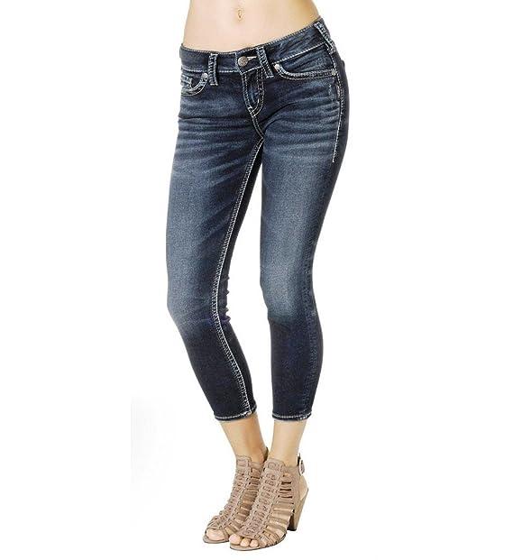 Silver Jeans Juniors Mid Rise Suki Capris L43956SWK353