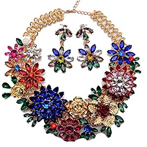 Holylove Fashion Gold Chain Blue Red Resin Crystal Flower Statement Necklace Earrings Jewelry Set 8614set
