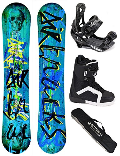 AIRTRACKS SNOWBOARD SET / SKULL SNOWBOARD WIDE ROCKER + SOFTBINDUNG SAVAGE + SOFTBOOTS + SB BAG / 150 153 155 158 / cm
