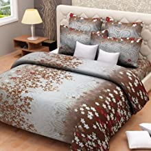 Fabfurnish Nite N Day Floral Double Bed Sheet With Two Pillow Cover Brown & Gray Multicolor