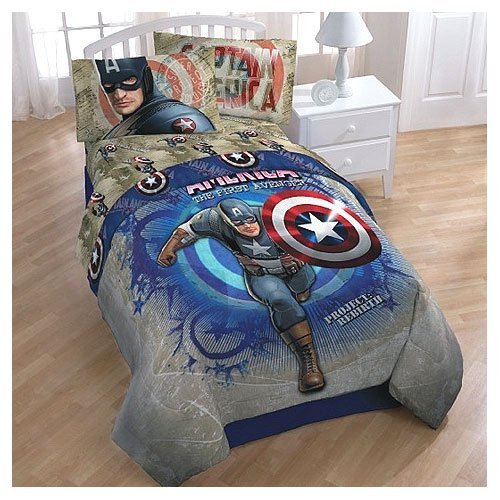 Captain America Twin Bed Sheet Set - Marvel Comics Bedding Twin Size front-80218