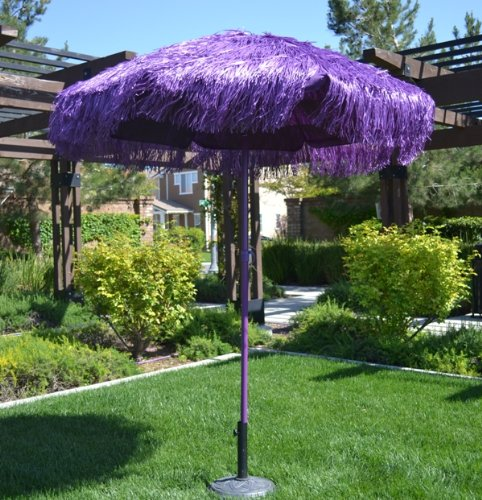 6.5' Thatched Hula Tilt Beach Market Umbrella - Purple Color