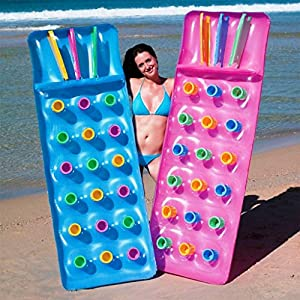 Bestway Inflatable 18 Pocket Fashion Sun Lounger Lilo Swimming Pool Air Bed Mat(1)