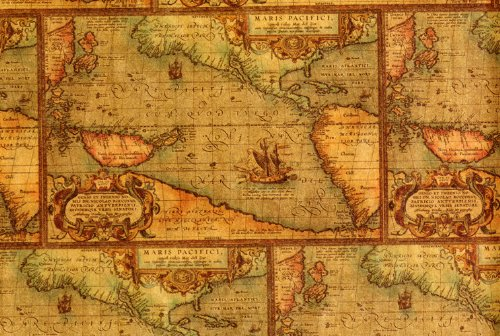 Antique Map Gift Wrap 2' x 8' (Vintage Map Paper compare prices)