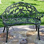 Belleze Cast Iron Antique Rose Style Design Outdoor Patio Garden Park Bench, Green