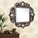 Home Sparkle Engineered Wood Wall Mirror (60 Cm X 1.5 Cm X 60 Cm, Golden Black, Sh1133)