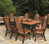 "Poly Lumber Patio Furniture Set Including 1 Rectangular Table (60"") and 4 Chairs in Weathered Wood & Black - Amish Made in USA"