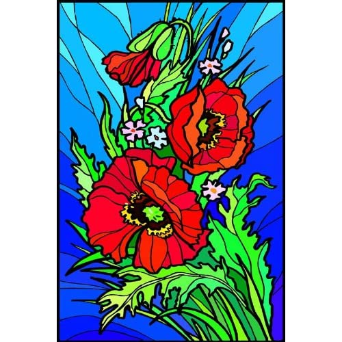Flowers - Etched Vinyl Stained Glass Film, Static Cling Window Decal