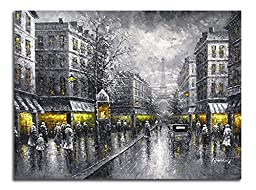 Wieco Art Paris Street Modern Giclee Print Artwork of Landscape Oil Paintings Canvas Wall Art