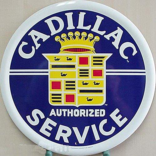 Cadillac rundes Auto targa placca metallo piatto Nuovo 31x31cm VS058-1