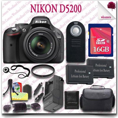 Nikon D5200 Digital Slr Camera With 18-55Mm Af-S Dx Vr (Black) + 16Gb Sdhc Class 10 Card + Slr Gadget Bag + Wireless Remote 15Pc Nikon Saver Bundle