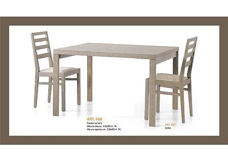 Table Blanc frassinato ou taupe cm 120x 901allongement cm 100avec chaises combinée Tavolo 120x90x76 + 1 Allung. 100cm Art 668 TORTORA