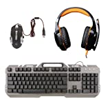 MonkeyJack Backlit Gaming Keyboard Mouse Combo with LED USB Surround Stereo Gaming Headset Over-Ear Headphone Set