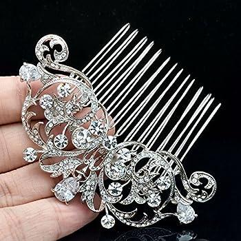 Sepjewelry 2253R Vintage Style CZ Rhinestone Hair Comb Pin Clip