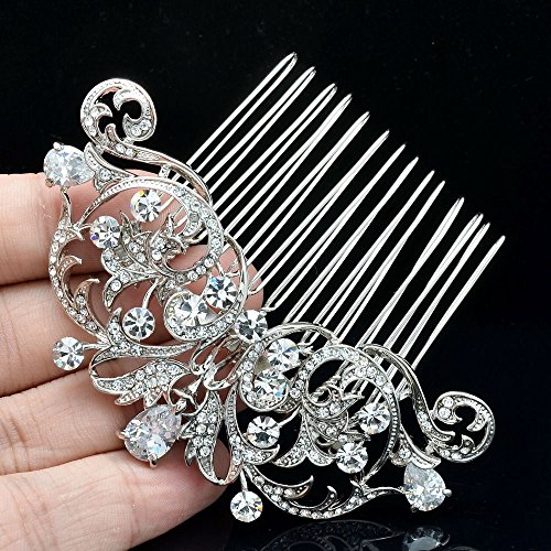 Sepjewelry 2253R Vintage Style CZ Rhinestone Hair Comb Pin Clip 1