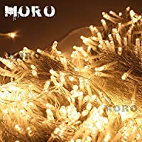 MORO 100m(328feet) 8 Modes 500 LEDs Christmas Fairy String Light Lighting Wedding Party Lamp Clear Cable Waterproof Xmas Decorative by MORO