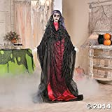 Gypsy Lady in Black & Red with Flashing Red Eyes Spooky Scary Halloween Prop Decor