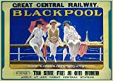 Vintage Travel BLACKPOOL in LANCASHIRE FOR GORGEOUS SIGHTS WITH GREAT CENTRAL RAILWAY 250gsm Gloss Art Card A3 Reproduction Poster