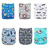 Alva baby cada paquete tiene 6pcs pañal y 2 inserciones ajustado pañal de tela (color unisex 4) 6DM16-ES