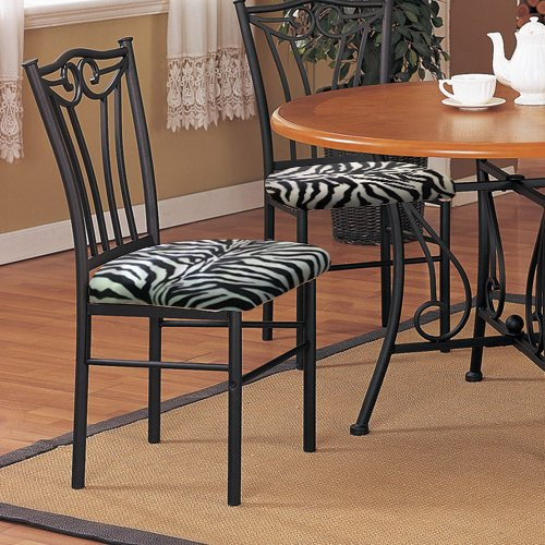 2 new black finish metal dining chairs with a black