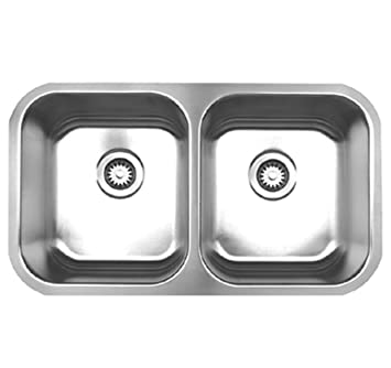 Whitehaus WHNEDB3118-BSS Noah's Collection 31-3/8-Inch Double Equal Bowl Undermount Kitchen Sink, Brushed Stainless Steel