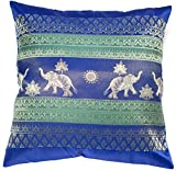 Avarada Print Elephant Sun Decorative Throw Pillow Cover 16x16 Inch Blue