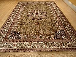 Luxury Silk Gold Rug Traditional Area Rugs Persian Kashan 5x8 Area Rugs Living Room Rug 5x7 Luxury Rugs for Office Bedroom (Medium 5\'x8\')