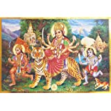 "Dolls Of India ""Bhagawati With Hanuman And Batuk Bhairav"" Reprint On Paper - Unframed (38.10 X 26.67 Centimeters..."