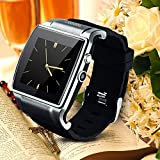 Hi-Watch® Wrist Mobile Phone GSM Bluetooth Smart Watch For iPhone 6 plus 5S 5C 4, Samsung Galaxy S5 S4 S3 Note 4 3 2, All Sony Devices, All HTC Models, Bluetooth connection (Black)