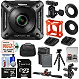 Nikon KeyMission 360 Wi-Fi Shock & Waterproof 4K Video Action Camera Camcorder + Bike Handlebar & Helmet Mounts + 64GB Card + Battery & Charger + Case + Tripod Kit