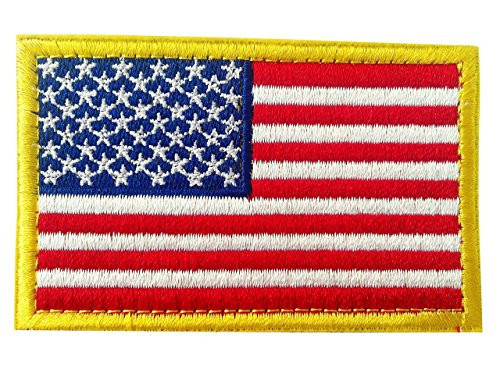 USA Tactical Morale American Flag Embroidered Patch Gold Border United States of America Military Uniform Emblem with Velcro (Garrison Duty, 2
