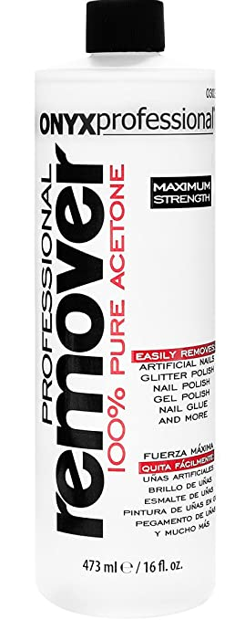 Onyx Professional 100% Acetone Nail Polish Remover Removes Artificial Nails, Nail Polish, Gel Polish and Glitter Polish, 16 oz via Amazon