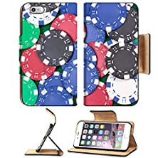 buy Msd Premium Apple Iphone 6 Plus Iphone 6S Plus Flip Pu Leather Wallet Case Close Up Of Colorful Poker Playing Chips On The Table Image Id 24878470