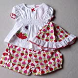 Baby Girls Cute Summer Clothes - 6-12 months - Gorgeous White Pink and Red Strawberries Short-sleeved Top Shorts & Sun Hat Outfit Set