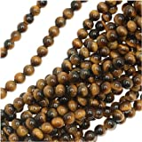 Tiger Tigers Eye Gem Round 6-6.5mm Beads/15.5 (Brown & Gold)