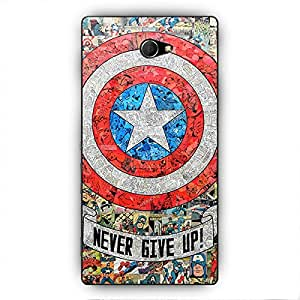 EYP Superheroes Captain America Back Cover Case for Sony Xperia M2 Dual