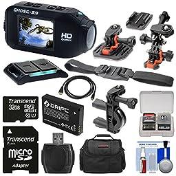 Drift Innovation HD Ghost-S Wi-Fi Waterproof Digital Video Action Camera Camcorder with 32GB Card + 2 Helmet, Flat Surface & Bike Handlebar Mounts + Battery + Case + Kit