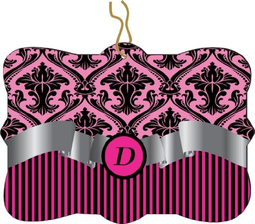 "Rikki Knighttm Letter ""D"" Initial Hot Pink Damask And Stripes Monogrammed Design Tree Ornament / Car Rear View Mirror Hanger front-644558"