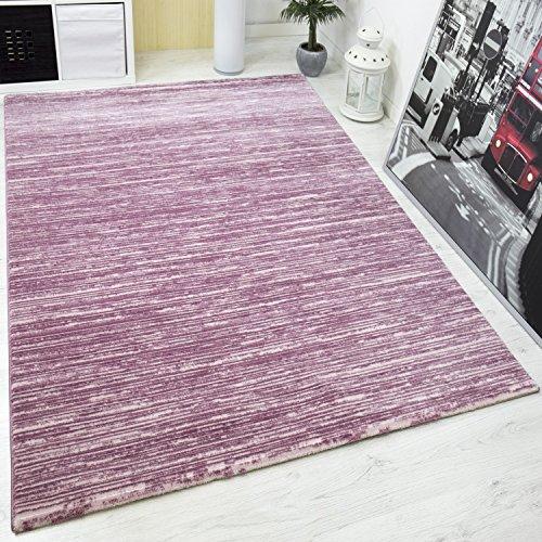 VIMODA saphir7710 Designer TAPPETO MODERNO, effetto hochtief con Lurex glitter, Striato, natura amichevole, rosa, 80 x 150 cm