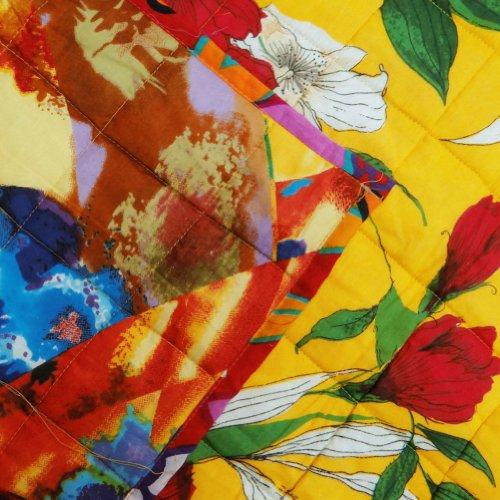 Doble mano del edredón Tamaño impreso floral decorativo amarillo Algodón Colcha reverssible India 90