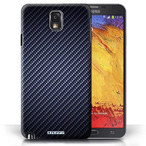 KOBALT® Protective Hard Back Phone Case / Cover for Samsung Galaxy Note 3 | Blue Design | Carbon Fibre Effect/Pattern Collection