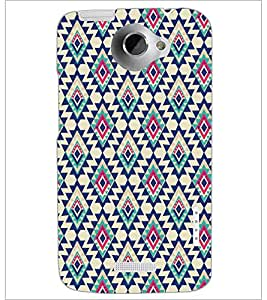 PrintDhaba Diamond Pattern D-5391 Back Case Cover for HTC ONE X (Multi-Coloured)