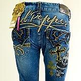 [レッドペッパージーンズ]REDPEPPERJEANS 正規品#5748 クロス 十字架 モチーフ 刺繍 タイトストレートジーンズ パンツ レディース RED PEPPER JEANS デニム パンツ ジーパン ブランドジーンズ ファッション
