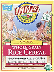 Earth's Best Organic Whole Grain Rice Cereal, 8 Ounce (Pack of 12)
