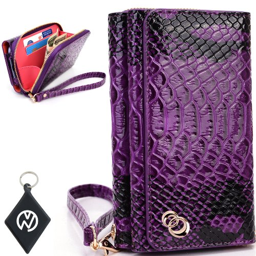 Great Sale Apple iPhone 5S Women's Uptown Wristlet Wallet Clutch with Dual Compartment, Built-In Credit Card Slots and Internal Zipper Pocket. Includes one Detachable Wrist Strap. Color: Purple Croc Patent Leather + NuVur ™ Keychain (SUNIWMU2)