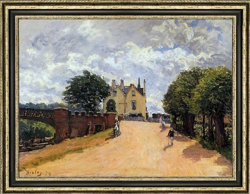 alfred-sisley-inn-at-east-molesey-with-hampton-court-bridge-185-x-245-framed-premium-canvas-print