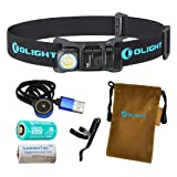 Olight H1R Nova 600 Lumens Rechargeable LED Headlamp w/ Olight RCR123A Battery, Magnetic USB Charging Cable, and LumenTac CR123A Battery (Black, Cool White) (Color: Black)