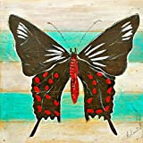 Mandi - Home Décor - Hand Painted Wall Art On Teakwood - Common Rose Butterfly