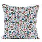 Homescapes - 100% Cotton - Retro Flower - Filled Cushion - 30 x 30 cm Square - 12 x 12 Inches - Green White Pink - 100% Cotton - Cover Well Filled Pad - Washableby Homescapes